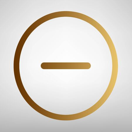 minus sign: Negative symbol. Minus sign. Flat style icon with golden gradient