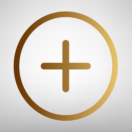 símbolo positivo signo más. icono de estilo plana con gradiente de oro