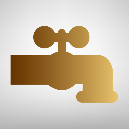 spew: Water faucet sign. Flat style icon with golden gradient
