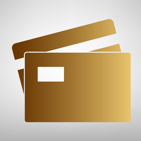 transact: Credit Card sign. Flat style icon with golden gradient