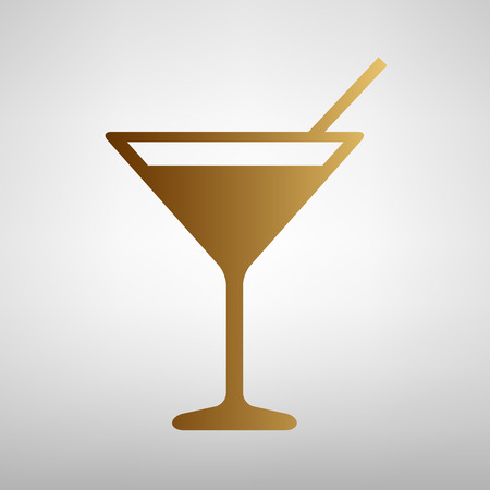 coctail: Coctail sign. Flat style icon with golden gradient