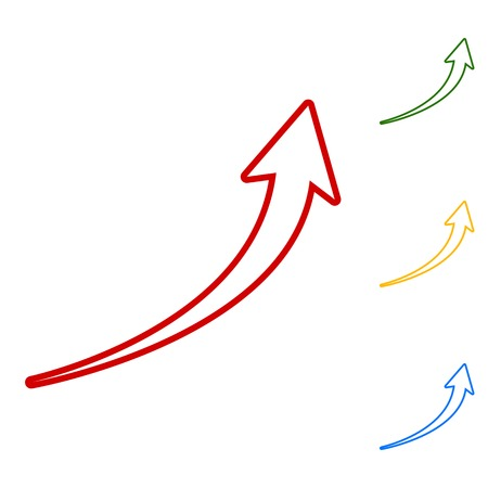 blue arrow: Growing arrow sign. Set of line icons. Red, green, yellow and blue on white background.
