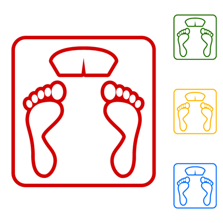 bathroom weight scale: Bathroom scale sign. Set of line icons. Red, green, yellow and blue on white background.
