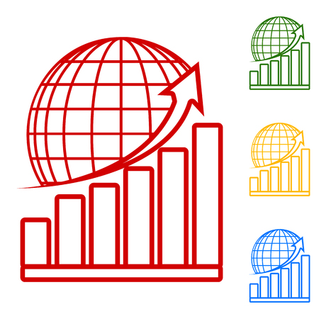 stock market crash: Growing graph with earth. Set of line icons. Red, green, yellow and blue on white background.