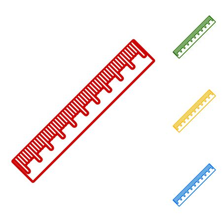 centimeter: Centimeter ruler sign. Set of line icons. Red, green, yellow and blue on white background.