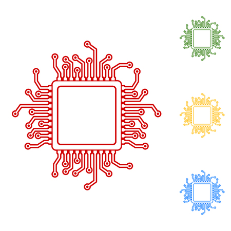 chipset: CPU Microprocesso. Set of line icons. Red, green, yellow and blue on white background.