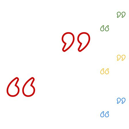 citing: Quote sign. Set of line icons. Red, green, yellow and blue on white background.