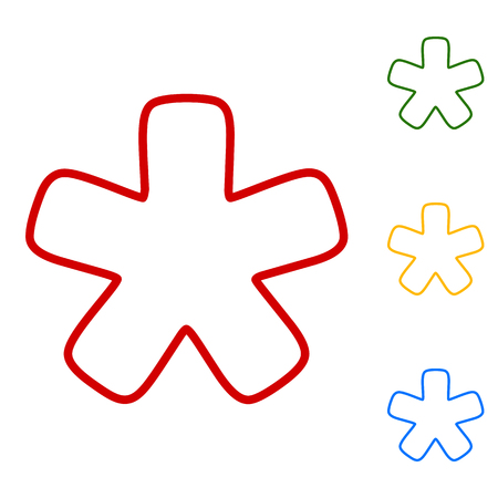 reference point: Asterisk star sign. Set of line icons. Red, green, yellow and blue on white background. Illustration