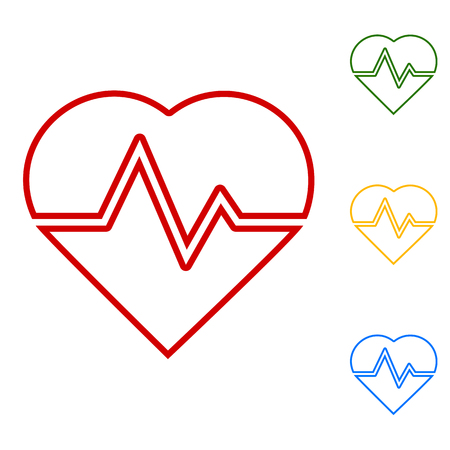 heartbeat line: Heartbeat sign. Set of line icons. Red, green, yellow and blue on white background.