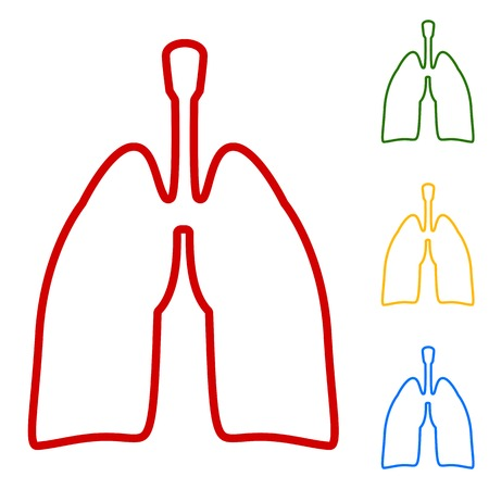 pulmones: Human organs. Lungs sign. Set of line icons. Red, green, yellow and blue on white background. Illustration