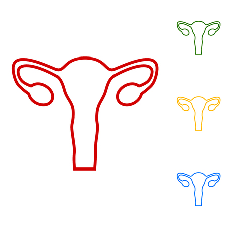 genitalia: Human Body Anatomy. Uterus sign. Set of line icons. Red, green, yellow and blue on white background.