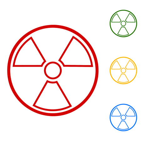 radiological: Radiation Round sign. Set of line icons. Red, green, yellow and blue on white background.