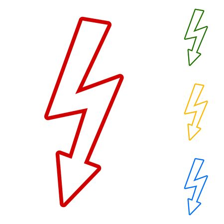 volte: High voltage danger sign. Set of line icons. Red, green, yellow and blue on white background.