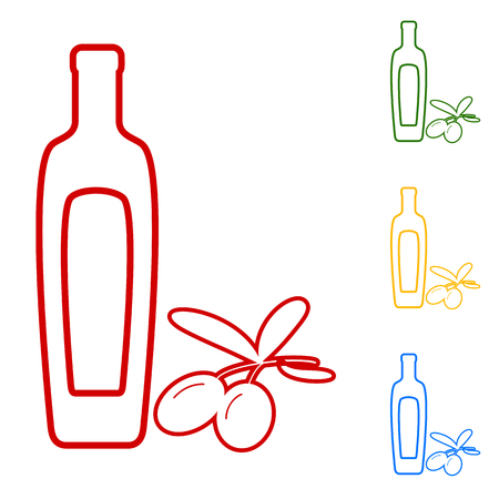 salad dressing: Black olives branch with olive oil bottle sign. Set of line icons. Red, green, yellow and blue on white background.