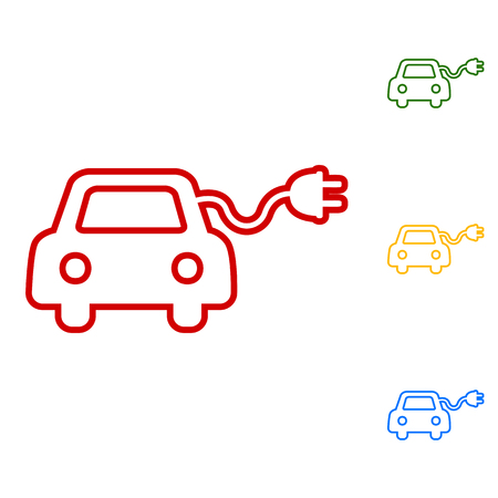 echnology: Eco electrocar sign. Set of line icons. Red, green, yellow and blue on white background.