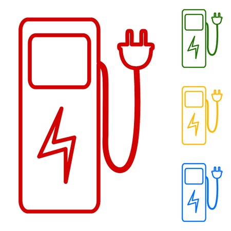 zero emission: Electric car charging station sign. Set of line icons. Red, green, yellow and blue on white background. Illustration