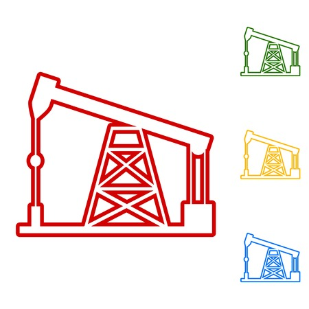 drilling rig: Oil drilling rig sign. Set of line icons. Red, green, yellow and blue on white background.