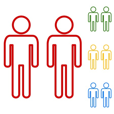 gay family: Gay family sign. Set of line icons. Red, green, yellow and blue on white background.