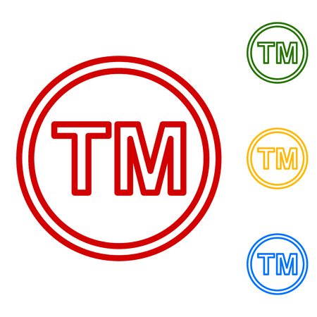 trade mark: Trade mark sign. Set of line icons. Red, green, yellow and blue on white background.