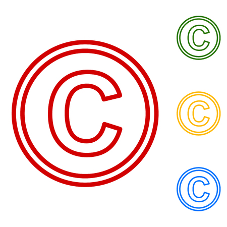 conventions: Copyright sign. Set of line icons. Red, green, yellow and blue on white background. Illustration