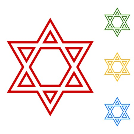 magen: Star. Shield Magen David. Symbol of Israel. Set of line icons. Red, green, yellow and blue on white background.