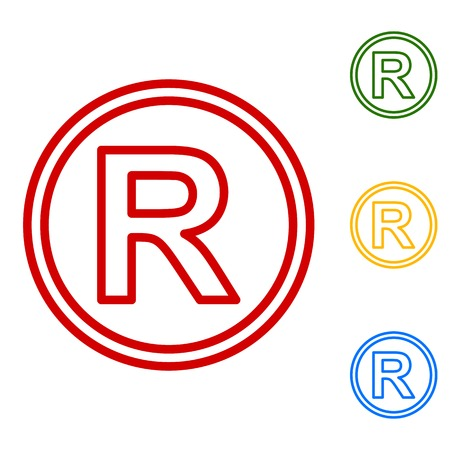 dispensation: Registered Trademark sign. Set of line icons. Red, green, yellow and blue on white background. Illustration