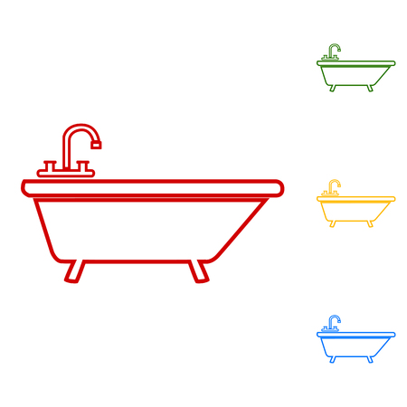 bathtub: Bathtub line Icon. Set of line icons. Red, green, yellow and blue on white background. Illustration