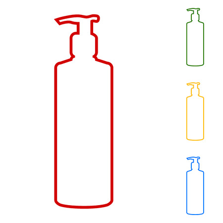 Gel, Foam Or Liquid Soap Dispenser Pump Plastic Bottle silhuette. Set of line icons. Red, green, yellow and blue on white background.