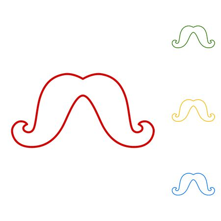 burly: Set of moustaches. Set of line icons. Red, green, yellow and blue on white background.