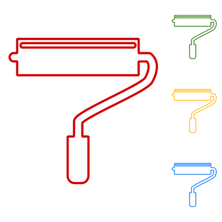 adorning: Roller. Set of line icons. Red, green, yellow and blue on white background. Illustration
