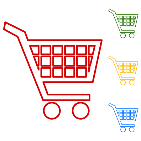 purchases: Shopping cart icons for online purchases. Set of line icons. Red, green, yellow and blue on white background. Illustration