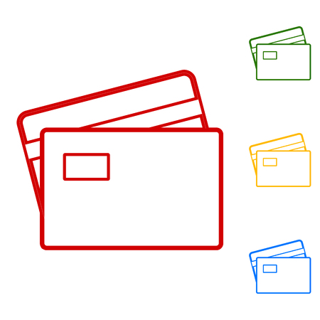 visa credit card: Credit Card line Icon. Set of line icons. Red, green, yellow and blue on white background. Illustration