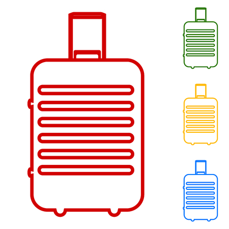 trolley case: Baggage vector. Set of line icons. Red, green, yellow and blue on white background.