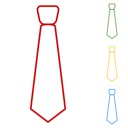 dresscode: Tie. Set of line icons. Red, green, yellow and blue on white background.