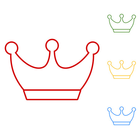 yellow crown: King crown. Set of line icons. Red, green, yellow and blue on white background.