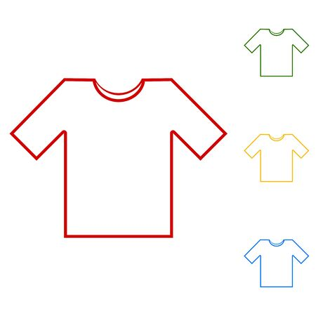 t shirt blue: T- shirt line icon vector illustration. Set of line icons. Red, green, yellow and blue on white background.