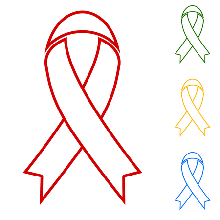 substance abuse awareness: Black awareness ribbon Hand. Set of line icons. Red, green, yellow and blue on white background.