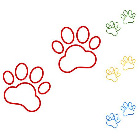 huellas de animales: Huellas de animales. Conjunto de iconos de l�neas. Rojo, verde, amarillo y azul sobre fondo blanco.