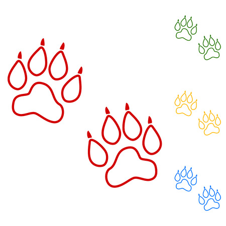 animal tracks: Animal Tracks. Vector. Set of line icons. Red, green, yellow and blue on white background.