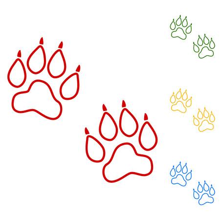 huellas de animales: Huellas de animales. Vector. Conjunto de iconos de l�neas. Rojo, verde, amarillo y azul sobre fondo blanco. Vectores