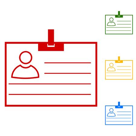 Carte d'identité. Définir des icônes de ligne. Rouge, vert, jaune et bleu sur fond blanc.