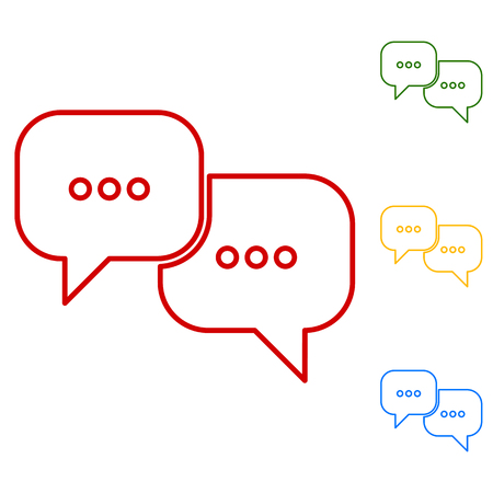 illustrates: speech bubles. Set of line icons. Red, green, yellow and blue on white background.