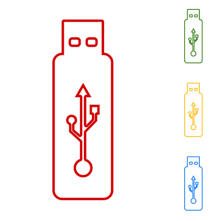 pocket pc: Vector usb flash drive. Set of line icons. Red, green, yellow and blue on white background. Illustration