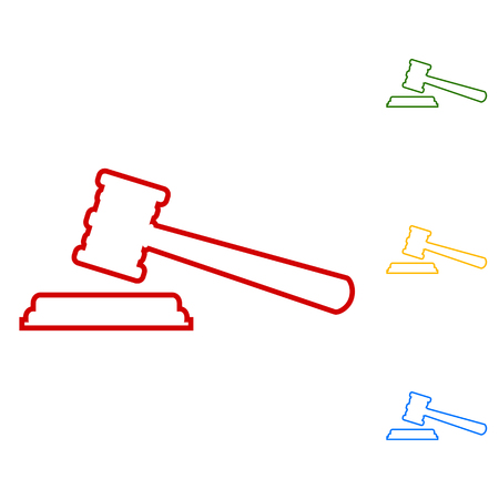 arbitrate: Justice hammer. Set of line icons. Red, green, yellow and blue on white background. Illustration