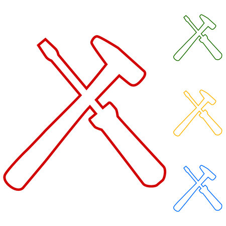 screw key: Tool. Set of line icons. Red, green, yellow and blue on white background. Illustration