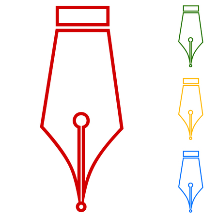 Pen. Set of line icons. Red, green, yellow and blue on white background.