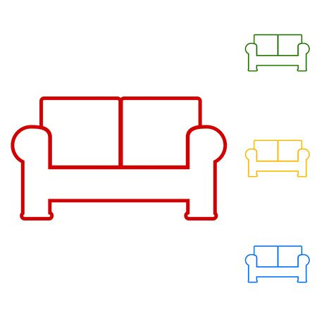 sofa set: Sofa. Set of line icons. Red, green, yellow and blue on white background.