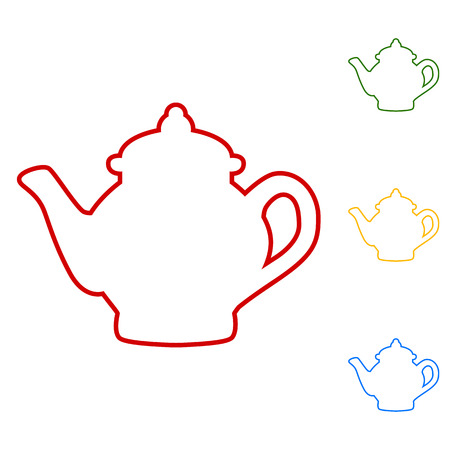 chinese tea pot: Tea maker. Set of line icons. Red, green, yellow and blue on white background.