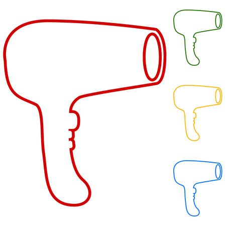 yellow hair: Hair Dryer. Hairdresser Symbol Vector. Set of line icons. Red, green, yellow and blue on white background.
