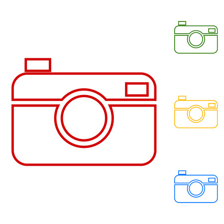 whim of fashion: Digital photo camera. Set of line icons. Red, green, yellow and blue on white background. Illustration